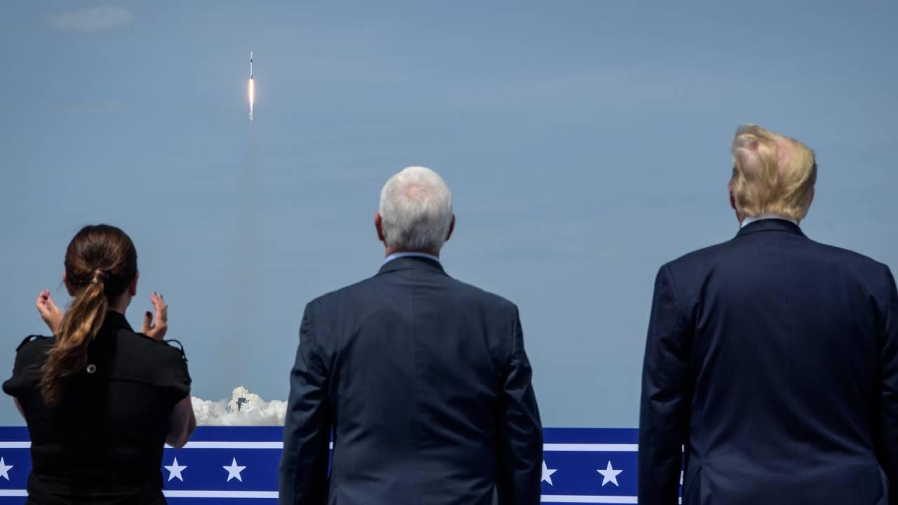 President Donald Trump, right, Vice President Mike Pence, and Second Lady Karen Pence watch the launch of a SpaceX Falcon 9 rocket carrying the company's Crew Dragon spacecraft on NASA's SpaceX Demo-2 mission. May 30, 2020 (NASA/Bill Ingalls)