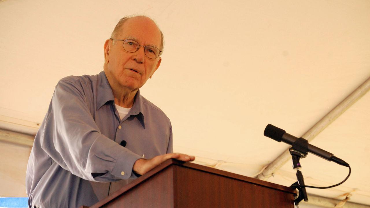 "Lyndon LaRouche at his 90th Birthday Party, where he delivered a speech, ""The coming end of the two party system."" Sept. 9, 2012 (EIRNS)"