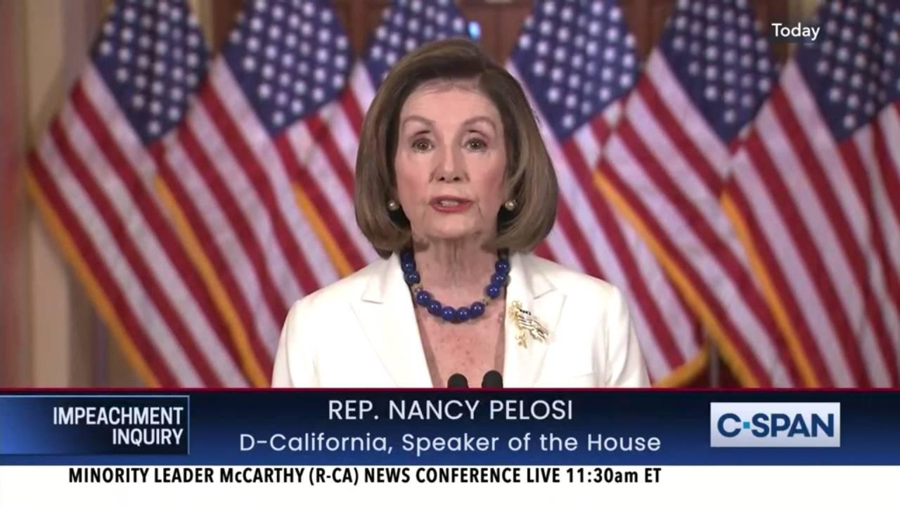 Speaker Nancy Pelosi (D-CA) called for the House to move forward with articles of impeachment against President Trump. December 5, 2019. (CSPAN)