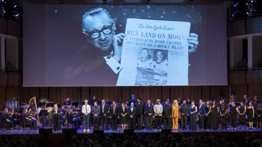 "Meredith Vieira closes out the program by reading Walter Cronkite's speech during the ""National Symphony Orchestra Pops, Apollo 11: A 50th Anniversary, One Small Step, One Giant Leap."" July 20, 2019 (NASA/Aubrey Gemignani)"