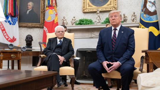 President Donald J. Trump participates in a bilateral meeting with Italian President Sergio Mattarella Wednesday, Oct. 16, 2019, in the Oval Office of the White House. (Official White House Photo by Shealah Craighead)
