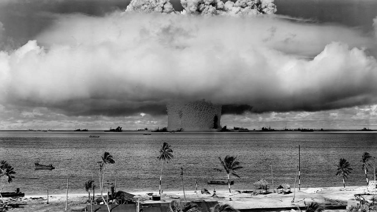 """The """"Baker"""" explosion, part of Operation Crossroads, a nuclear weapon test by the United States military at Bikini Atoll, Micronesia, on 25 July 1946. US DoD Photo"""