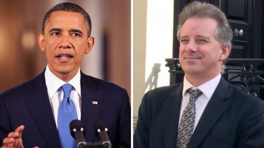 Barack Obama and Christopher Steele (CBS News)