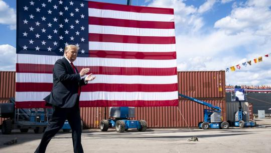 President Donald J. Trump delivers remarks to employees and guests Thursday, June 25, 2020, at Fincantieri Marinette Marine in Marinette, Wis. (Official White House Photo by Tia Dufour)