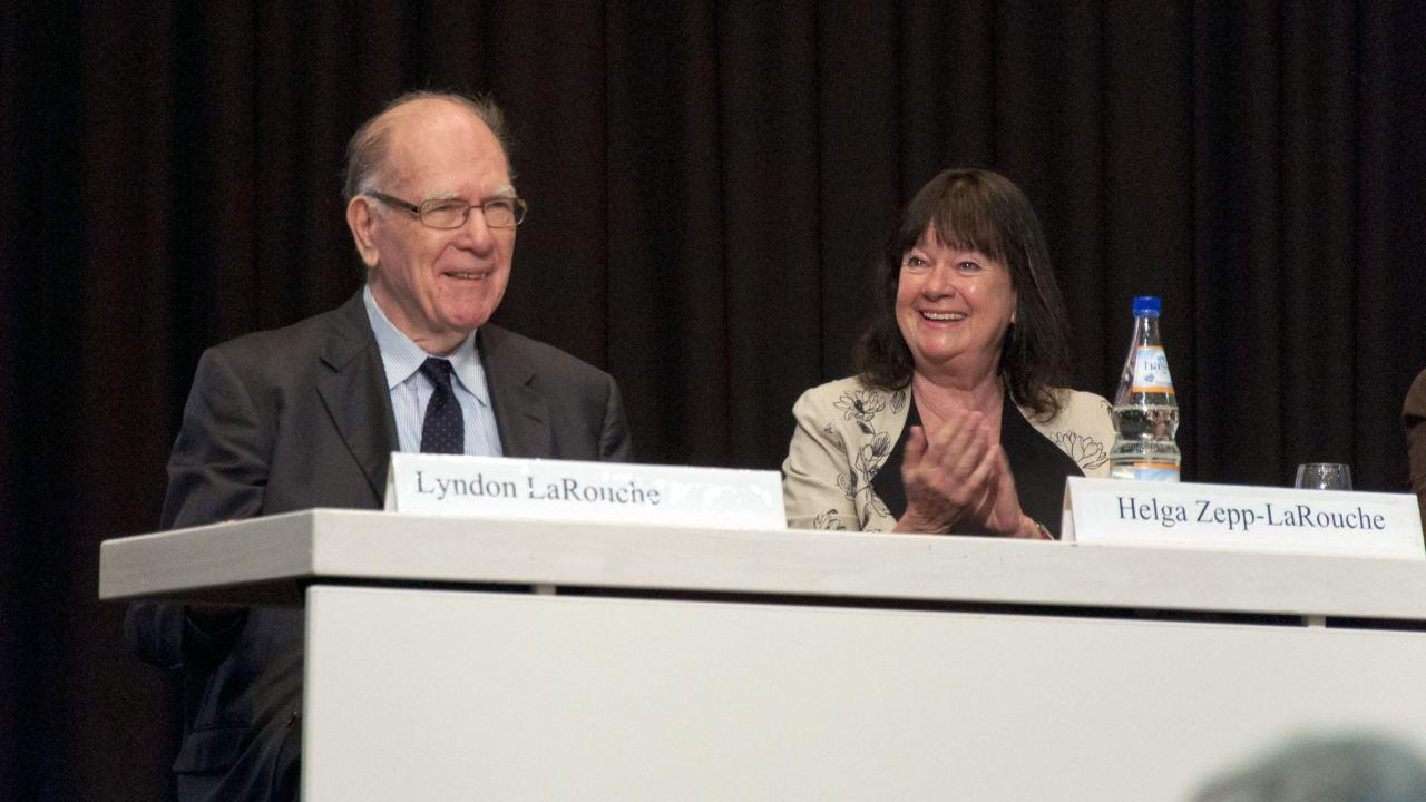 Lyndon and Helga Zepp-LaRouche attend a Schiller Institute Conference in Frankfurt, Germany. April, 2013 (EIRNS/Julien Lematre)