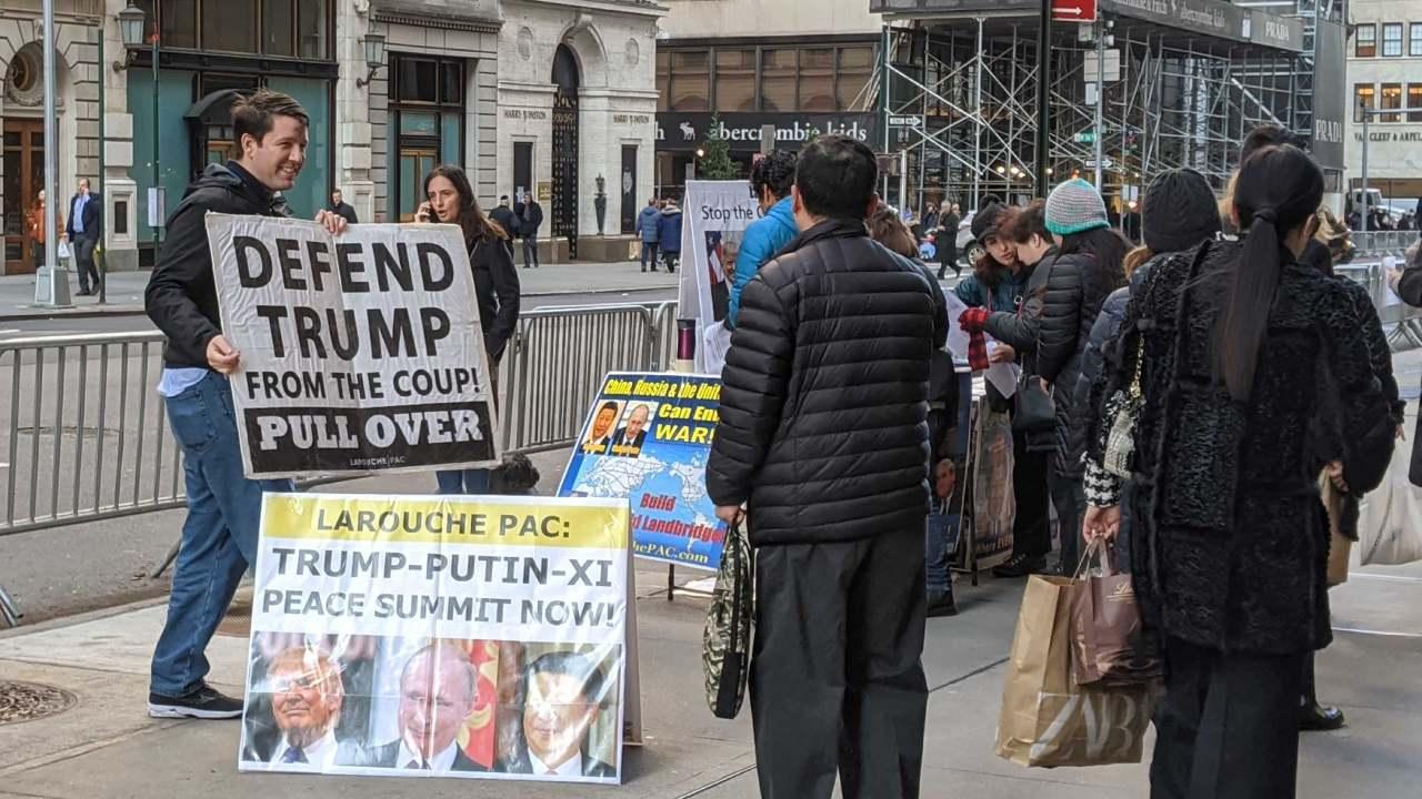 LaRouchePAC organizing in New York City during the international day of action. Jan. 15, 2020 (LaRouchePAC)