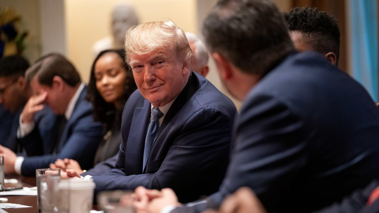 President Donald J. Trump listens as Senator Ted Cruz delivers remarks at a roundtable on empowering families with education choice Monday, Dec. 9, 2019, in the Cabinet Room of the White House. (Official White House Photo by Tia Dufour)