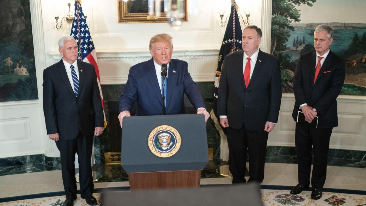 President Donald J. Trump, joined by Vice President Mike Pence, addresses his remarks Wednesday, Oct. 23, 2019, in the Diplomatic Reception Room of the White House. (Official White House Photo by D. Myles Cullen)