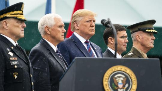President Trump, joined by Vice President Pence, participates in an Armed Forced Welcome Ceremony in honor of the 20th Chairman of the Joint Chiefs of Staff Monday, Sept. 30, 2019, at Summerall Field, Joint Base Myer-Henderson Hall, VA (Official WH Photo)