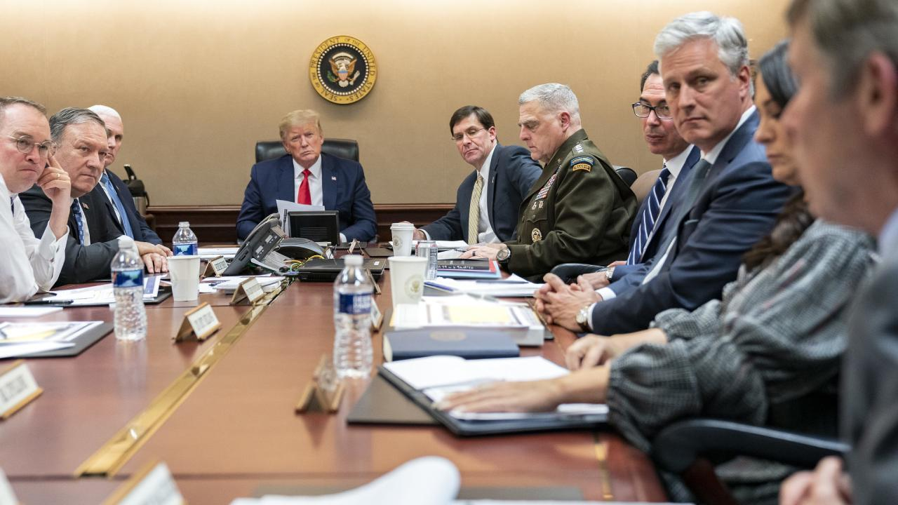 President Trump, joined by Vice President Pence, meets with senior White House advisors Tuesday evening, Jan. 7, 2020, on a further meeting about the Islamic Republic of Iran missile attacks on U.S. military facilities in Iraq.(Official White House Photo)