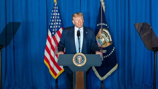 President Donald J. Trump delivers remarks during a press conference Friday, Jan. 3, 2020, at Mar-a-Lago in Palm Beach, Fla., following the U.S. airstrike in Iraq that resulted in the death of Iranian commander Qassim Soleimani. (Official WH Photo)
