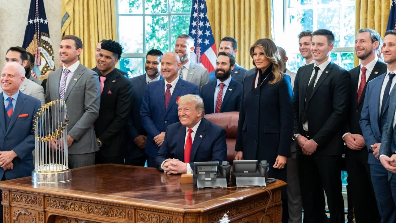 President Donald J. Trump and First Lady Melania Trump pose for a photo with the 2019 World Series Champions, the Washington Nationals. Nov 4, 2019 (Official White House Photo by Andrea Hanks)