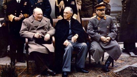 Yalta Conference 1945: Churchill, Roosevelt, Stalin. [UK National Archives]