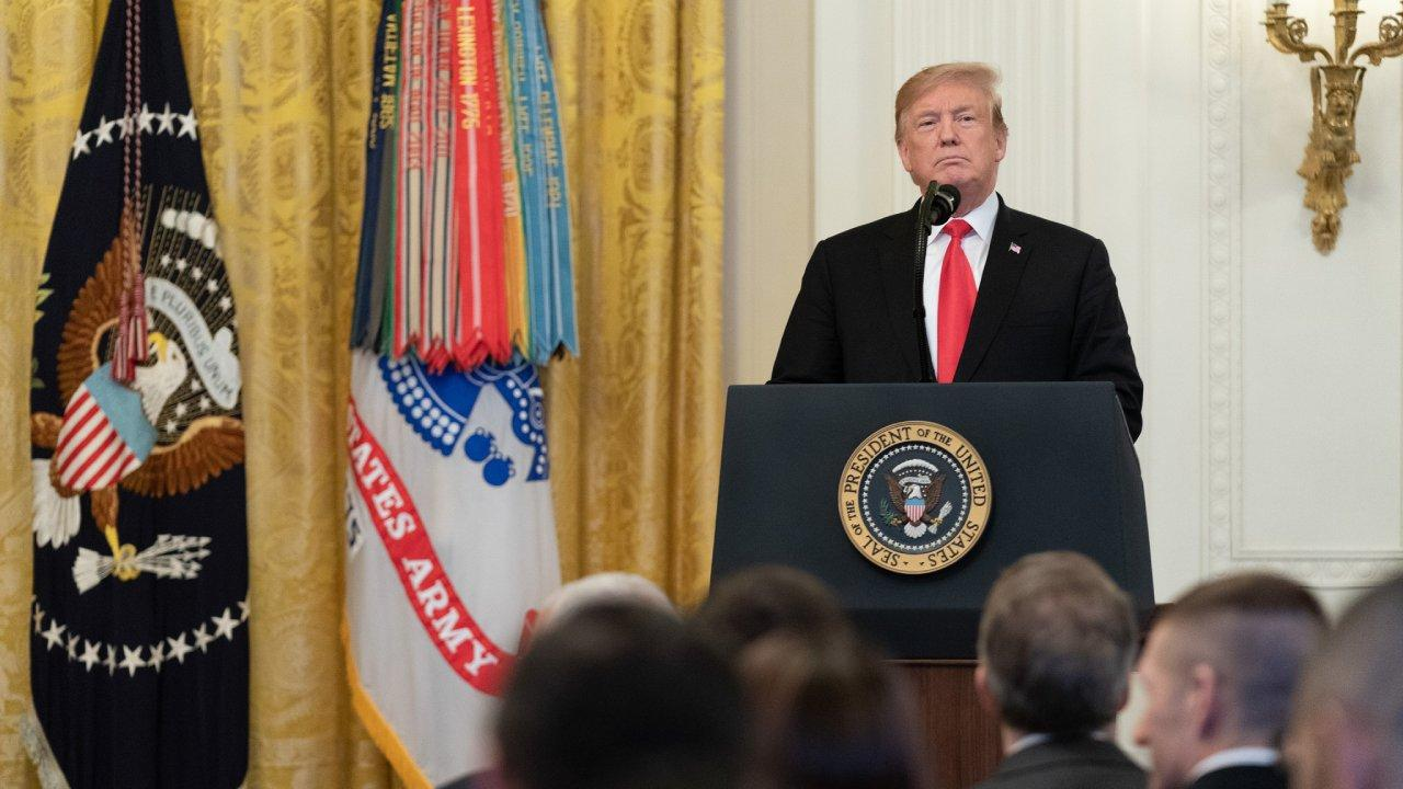 President Donald J. Trump presents the Medal of Honor to U.S. Army Staff Sgt. Travis W. Atkins Wednesday, March 27, 2019, in the East Room of the White House. (Official White House Photo by Shealah Craighead)