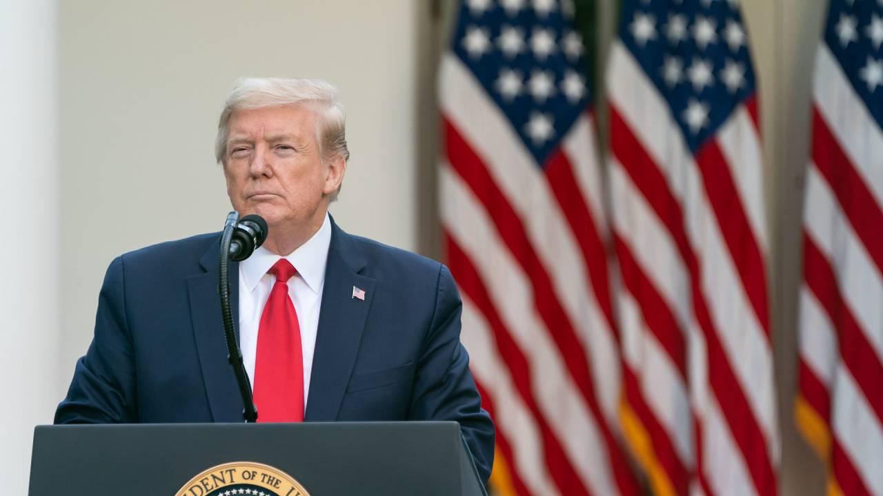 President Donald J. Trump listens to a reporter's question during the coronavirus update briefing Monday, April 27, 2020, in the Rose Garden of the White House (Official White House Photo by Andrea Hanks)