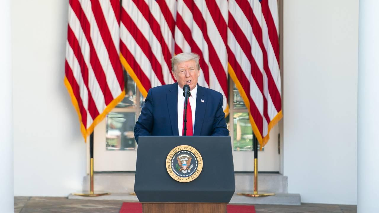 President Donald J. Trump delivers remarks during the White House National Day of Prayer Thursday, May 7, 2020, in the Rose Garden of the White House. (Official White House Photo by D. Myles Cullen)