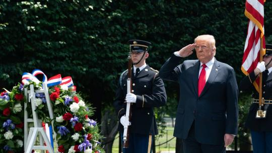 President Donald J. Trump salutes as participates in a wreath laying ceremony at the Korean War Veterans Memorial in Washington, D.C. Thursday, June 25, 2020, in honor of the 70th anniversary of the Korean War. (Official White House Photo by Andrea Hanks)