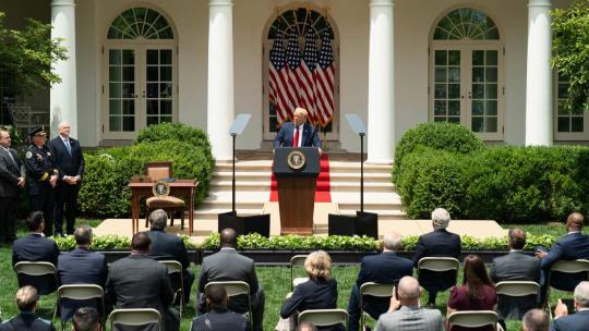 President Donald J. Trump delivers remarks in the Rose Garden of the White House Tuesday, June 16, 2020, prior to signing an executive order on safe policing for safe communities. (Official White House Photo by Shealah Craighead)
