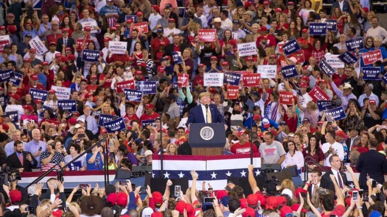 President Trump holds a rally in Louisiana to support the gubernatorial race there for the Republican Candidate. October 11, 2019 (Trump Presidential Campaign)