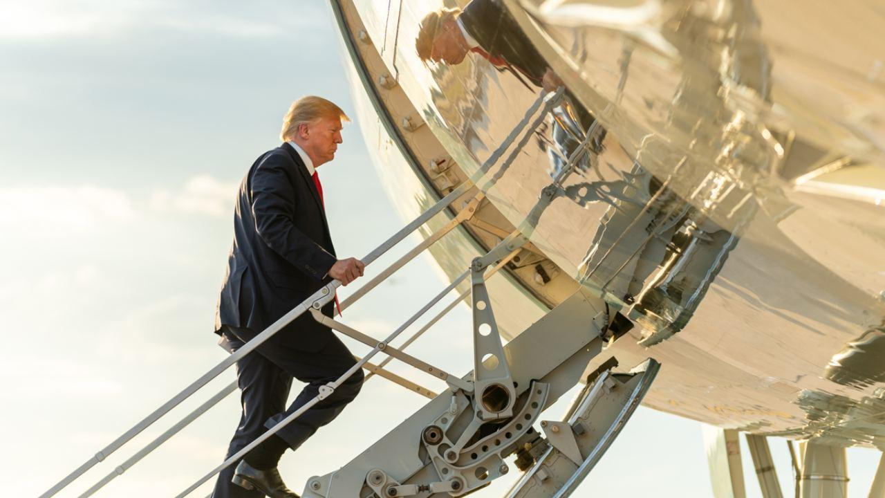 President Donald J. Trump arrives at Austin- Bergstrom International Airport in Austin, Texas Wednesday, Nov. 20, 2019, boarding Air Force One for his flight back to Joint Base Andrews, Md. (Official White House Photo by Shealah Craighead)