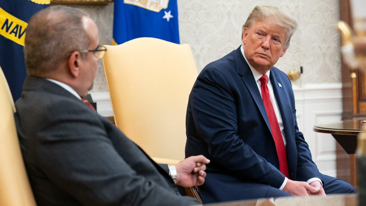 President Donald J. Trump participates in a working visit with Prince Salman bin Hamad bin Isa Al Khalifa, Crown Prince of Bahrain Monday, Sept. 16, 2019, in the Oval Office of the White House. (Official White House Photo by Joyce N. Boghosian)