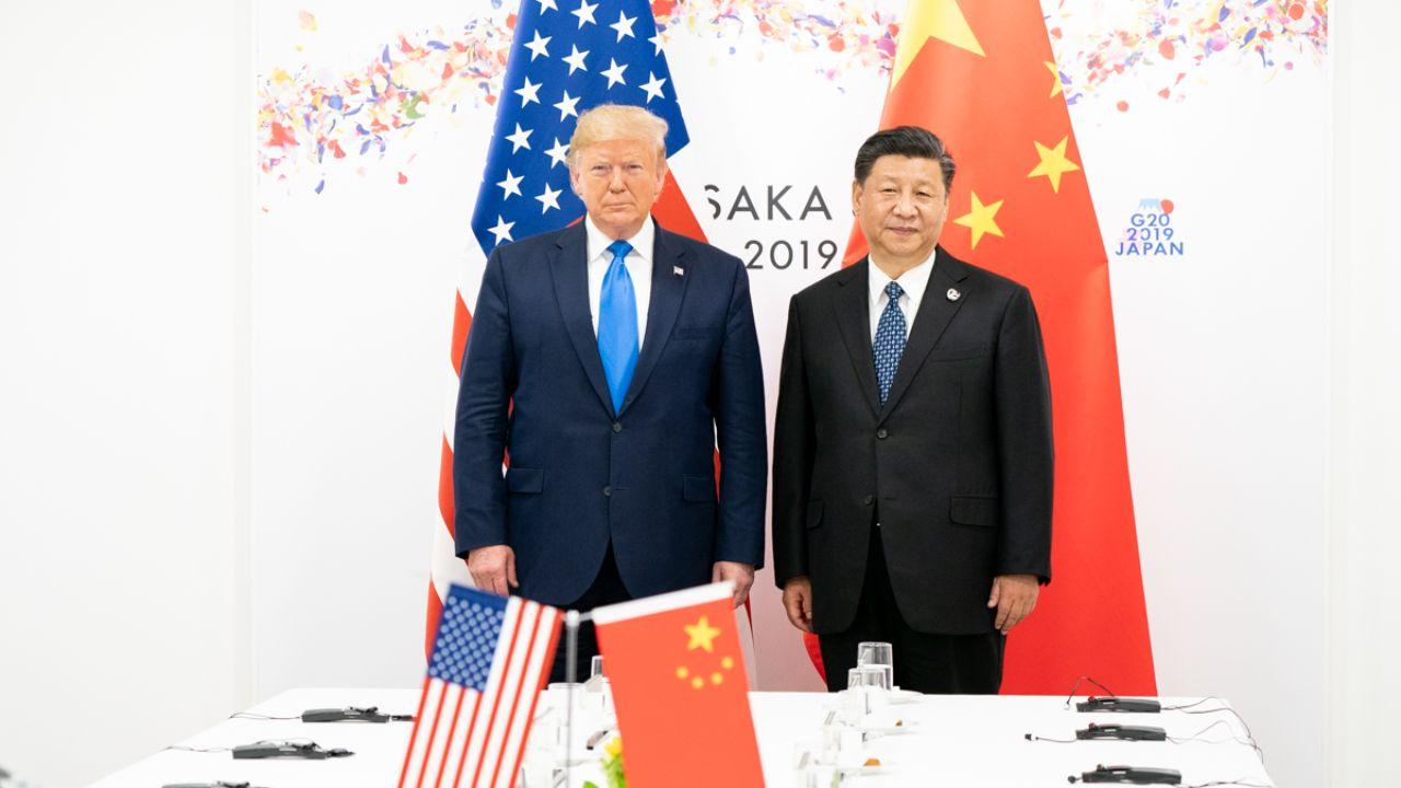 President Donald J. Trump joins Xi Jinping, President of the People's Republic of China, at the start of their bilateral meeting Saturday, June 29, 2019, at the G20 Japan Summit in Osaka, Japan. (Official White House Photo by Shealah Craighead)