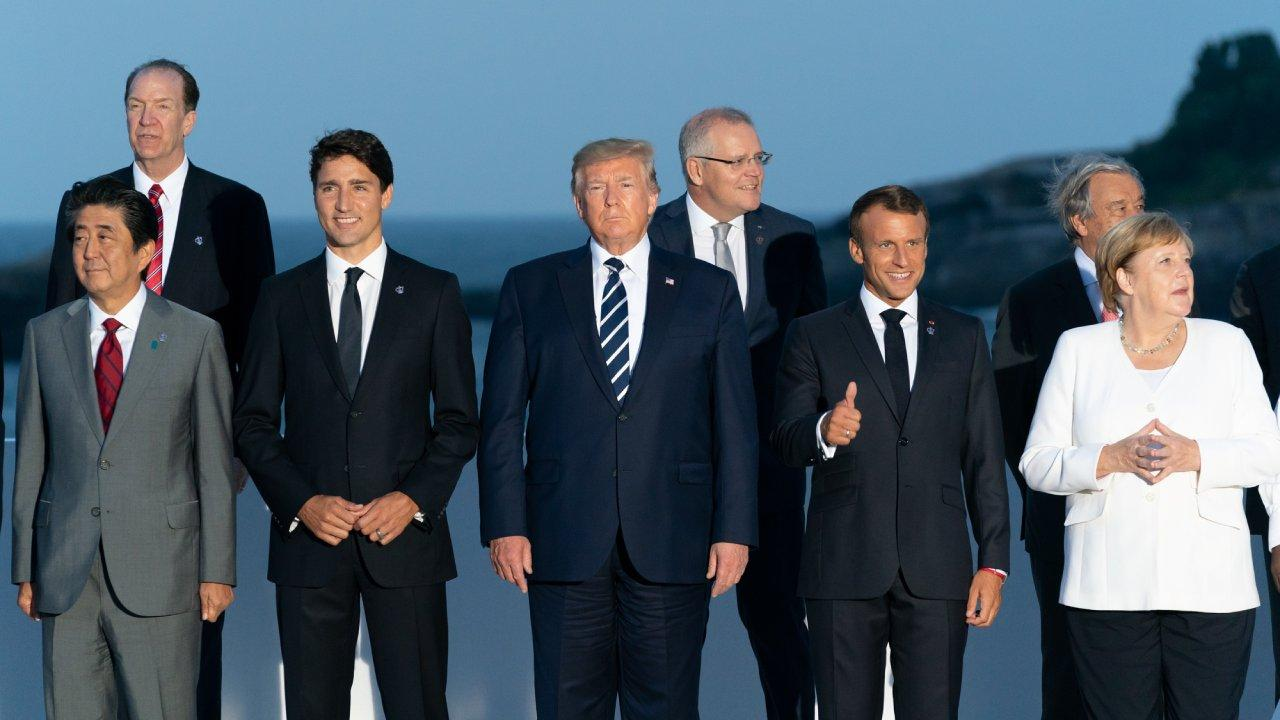"President Donald J. Trump joins the G7 Leadership and Extended G7 members as they pose for the ""family photo"" at the G7 Extended Partners Program Sunday evening, Aug. 25, 2019, at the Hotel du Palais Biarritz, site of the G7 Summit in Biarritz, France."