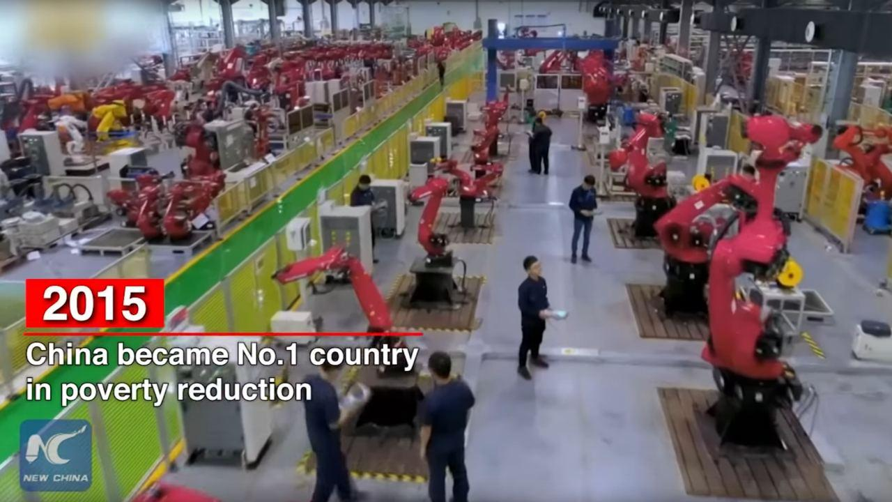 """A screenshot from New China TV's """"A quick look: PRC's 70 years on world stage"""" https://youtu.be/XbTeJPRRF4I"""