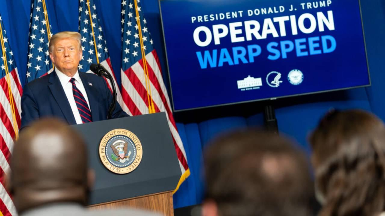 President Trump at a press conference about his crash program for a vaccine for covid-19, Operation Warp Speed. July 27, 2020. (Official White House Photo by Shealah Craighead)