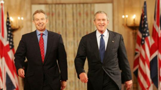 "President Bush and Prime Blair of Great Britain, May 25, 2006, for a press availability during which the President said of Iraq's new government, ""The United States and Great Britain will work together to help this new democracy succeed."""