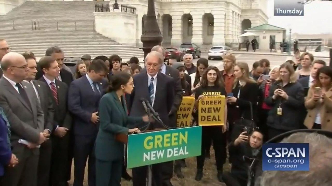 "Senator Edward Markey (D-MA) and Representative Alexandria Ocasio-Cortez (D-NY) unveiled the ""Green New Deal"" resolution calling for broad scope of economic and energy reforms to target climate change. Feb 7, 2019 (CSPAN/Framegrab)"
