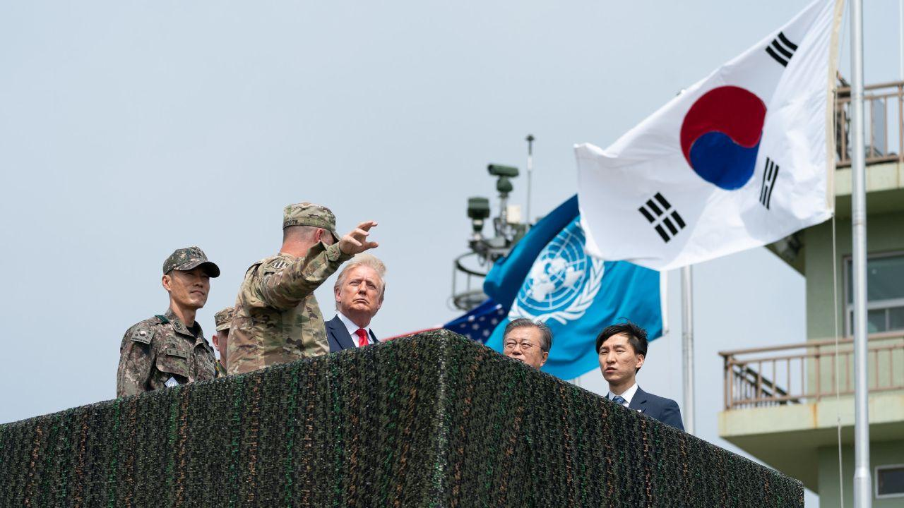 President Donald J. Trump, joined by Republic of South Korea President Moon Jae-in, tours the Korean Demilitarized Zone Sunday, June 30, 2019, between North and South Korea. (Official White House Photo by Shealah Craighead)