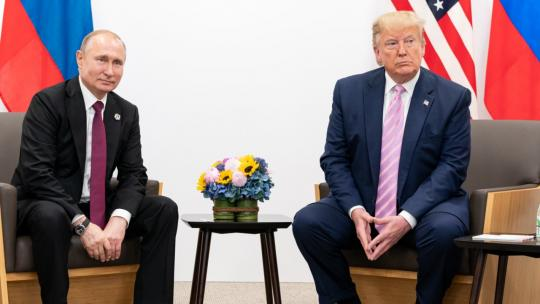 President Donald J. Trump participates in a bilateral meeting with the President of the Russian Federation Vladimir Putin during the G20 Japan Summit Friday, June 28, 2019, in Osaka, Japan. (Official White House Photo by Shealah Craighead)