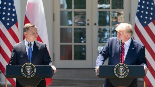 President Donald J. Trump participates in a joint press conference with Polish President Andrzej Duda Wednesday, June 12, 2019, in the Rose Garden of the White House. (Official White House Photo by Shealah Craighead)