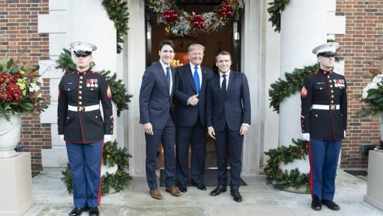 President Donald J. Trump meets with President Emmanuel Macron of France and Canadian Prime Minister Justin Trudeau in between separate meetings with each leader Tuesday, Dec. 3, 2019, at Winfield House in London. (Official White House Photo)