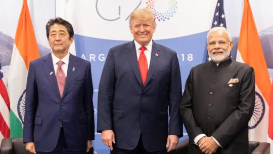 President Donald J. Trump participates in a trilateral meeting Friday, Nov. 30, 2018, with Japanese Prime Minister Shinzo Abe and India Prime Minister Narenda Modi at the G20 Summit in Buenos Aires, Argentina. (Official White House Photo)