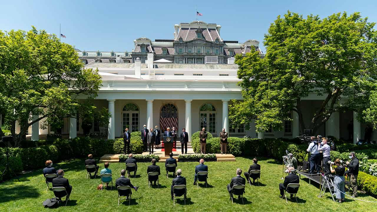 President Donald J. Trump delivers an update on vaccine development and answers questions from members of the press Thursday, May 15, 2020, in the Rose Garden of the White House. (Official White House Photo by Shealah Craighead)