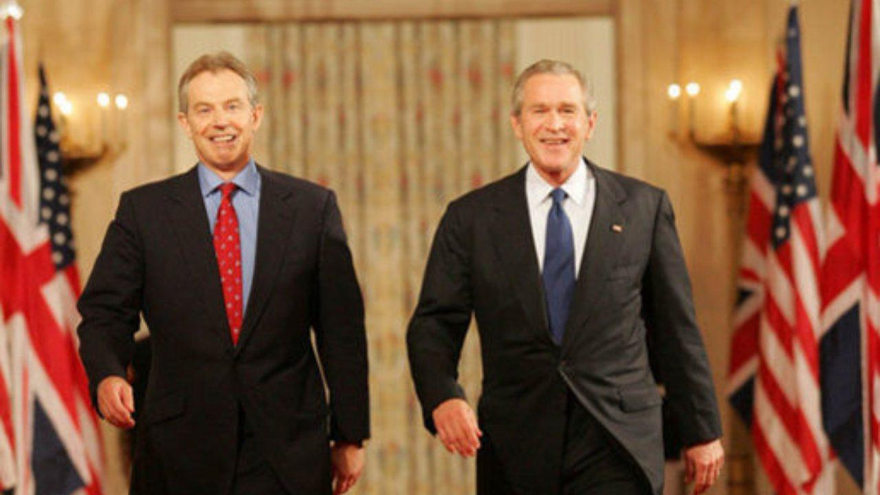 """President Bush and Prime Blair of Great Britain, May 25, 2006, for a press availability during which the President said of Iraq's new government, """"The United States and Great Britain will work together to help this new democracy succeed."""""""