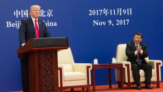 President Donald J. Trump participates in a business event with President Xi Jinping at the Great Hall of the People, Thursday, November 9, 2017, in Beijing, People's Republic of China. (Official White House Photo by Shealah Craighead)