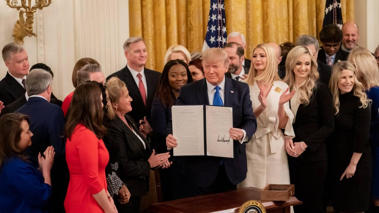 President Trump at the White House Summit on Human Trafficking, Jan. 31, 2020, in the East Room of the White House. (Official White House Photo by Andrea Hanks)
