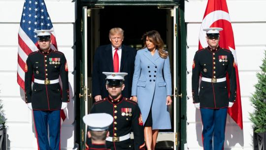 President Donald J. Trump and First Lady Melania Trump await the arrival of the Turkish President Recep Tayyip Erdogan and his wife Mrs. Emine Erdogan Wednesday, Nov. 13, 2019, at the South Portico of the White House. (Official White House Photo)
