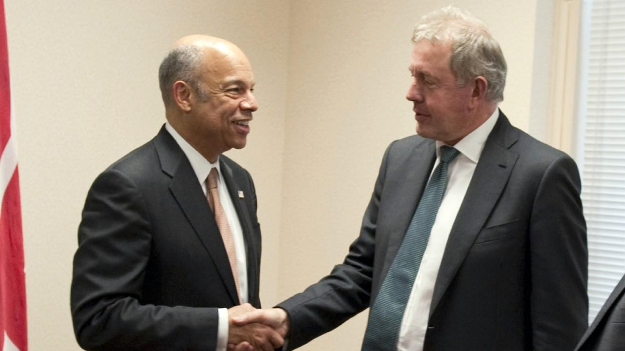 Obama's Secretary of Homeland Security Jeh Johnson hosts a meeting with Sir Kim Darroch, British Ambassador to the U.S. in Washington, D.C., May 4, 2016. Note the year. Official DHS photo by Barry Bahler.