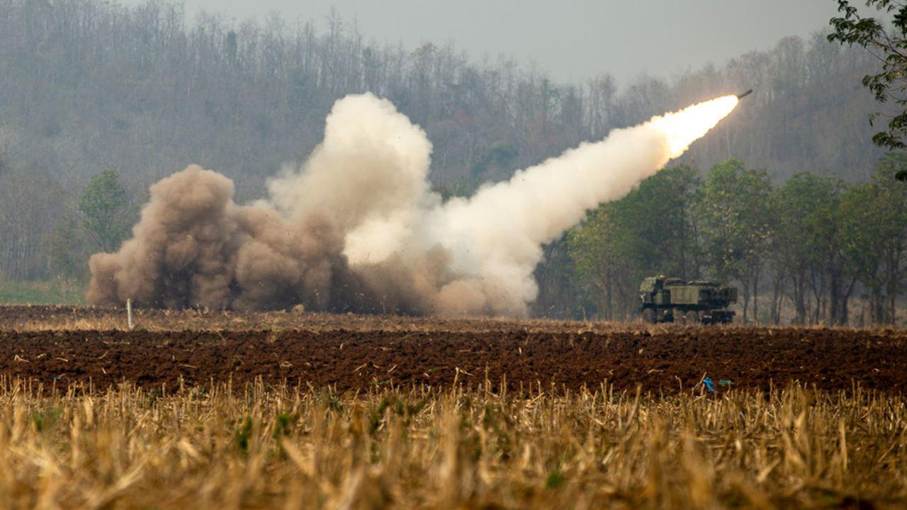 A Marine Corps M142 High Mobility Artillery Rocket System launches a missile in Sukhothai, Thailand, Feb. 14, 2019, during Cobra Gold, a multinational exercise focused on supporting the humanitarian needs of communities in the region. (DoD Photo)
