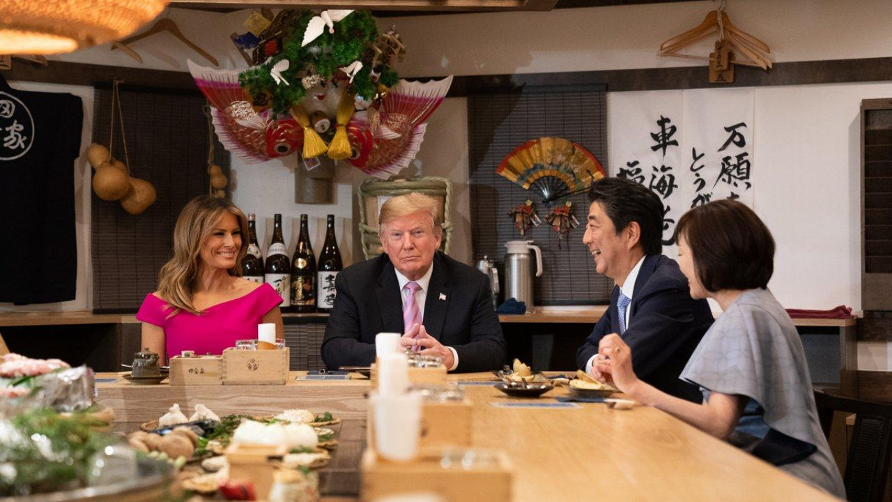 President Donald J. Trump and First Lady Melania Trump join the Prime Minister of Japan Shinzo Abe and his wife, Mrs. Akie Abe, for dinner at Inakaya restaurant Sunday, May 26, 2019, in Tokyo. (Official White House Photo by Andrea Hanks)
