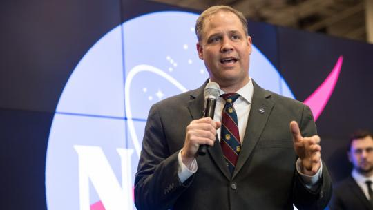 NASA Administrator Jim Bridenstine speaks at the American Geophysical Union (AGU) meeting, Tuesday, Dec. 11, 2018 at the Washington Convention Center in Washington. Photo Credit: (NASA/Aubrey Gemignani)