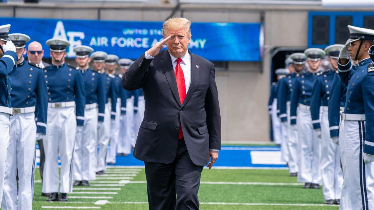 President Donald J. Trump salutes as he arrives to attend the 2019 U.S. Air Force Academy Graduation Ceremony Thursday, May 30, 3019, at the U.S. Air Force Academy-Falcon Stadium in Colorado Springs, Colo. (Official White House Photo by Shealah Craighead)