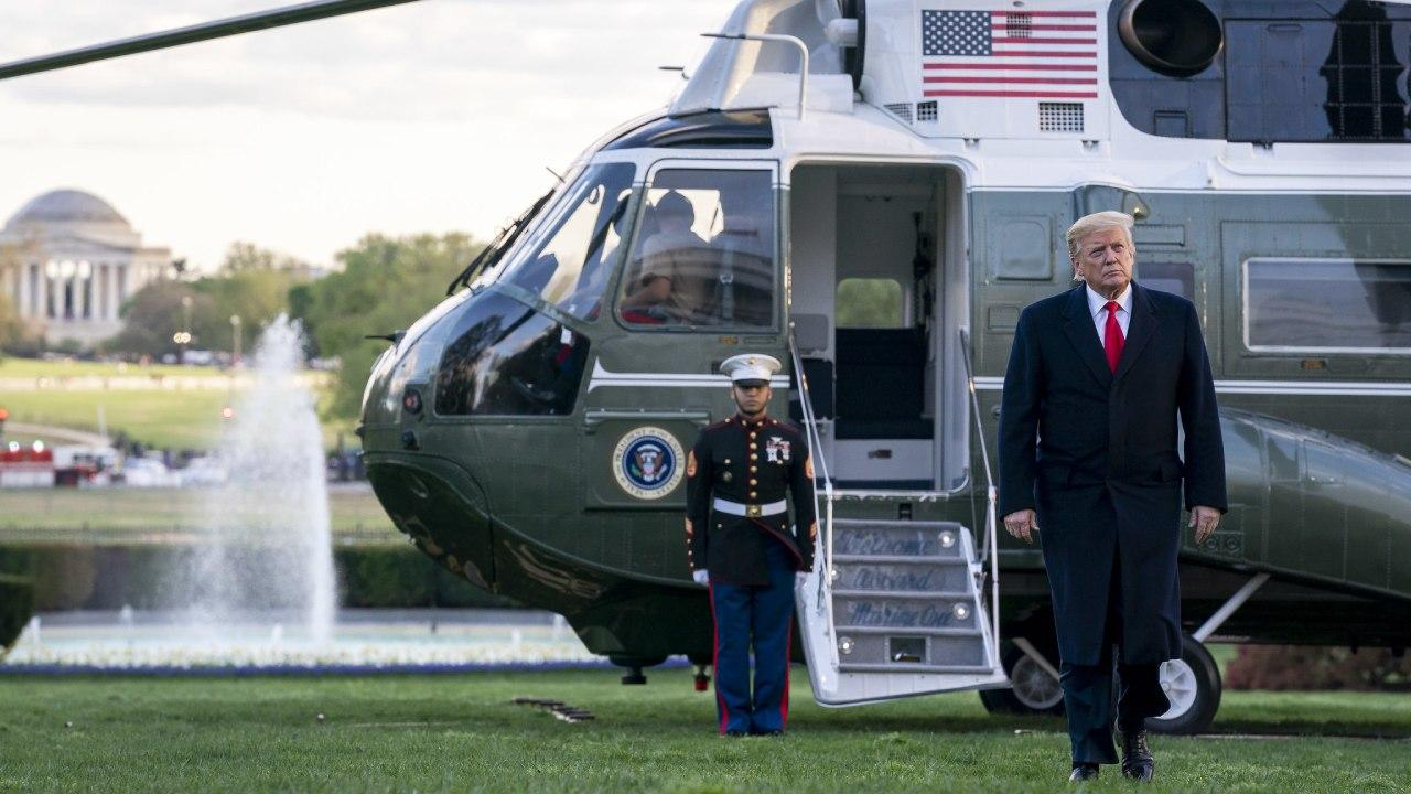 President Donald J. Trump disembarks Marine One on the South Lawn of the White House Monday, April 15, 2019. (Official White House Photo by Tia Dufour)