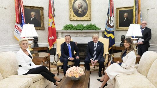 President Donald J. Trump and First Lady Melania Trump with Andrzej Duda, President of the Republic of Poland and his wife Mrs. Agata Kornhauser-Duda Tuesday, Sept. 18, 2018 (Official White House Photo Andrea Hanks)