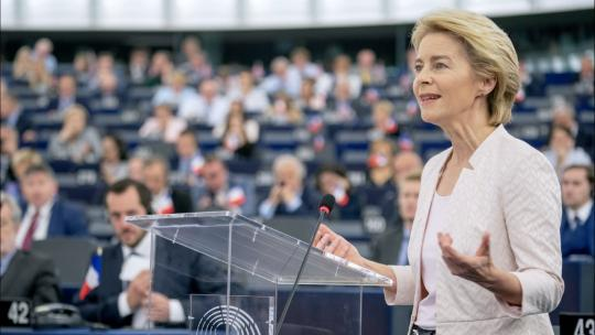 """July 16, 2019, In a debate with MEPs, Ursula von der Leyen outlined her vision as Commission President. """"CC-BY-4.0: © European Union 2019 – Source: EP"""""""