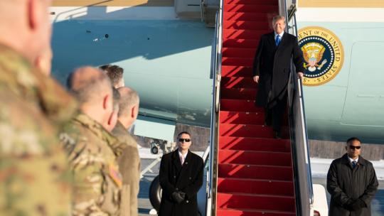President Donald Trump arrives at Joint Base Elmendorf-Richardson, Thursday, Feb. 28, 2019, in Anchorage, Alaska., for a troop visit following his second summit with North Korean leader Kim Jong Un in Vietnam. (Official White House Photo)